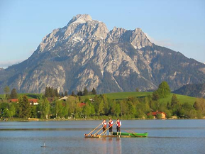 Lake Hopfensee with alphorn players
